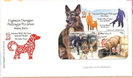 2018 Dog Year Zodiac Working Animal Police Mammal MS Stamp Malaysia FDC - Malaysia (1964-...)