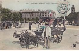 LYON - Place Bellecourt - Voitures Des Chèvres - Carte Colorisée - TBE - Lyon
