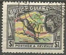 British Guiana  - 1954 Toucan $1 Used  SG 343  Sc 265 - Britisch-Guayana (...-1966)