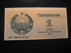 1 Cym 1992 UZBEKISTAN Unused UNC Banknote Billet Billete - Ouzbékistan