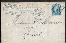 N° 60 Yvert Variété GRANDE CASSURE Sur Pli NANCY  / Dégradé 3ème état  30.10.1872 Belle Facture GERARDIN Prod. Ch . ...G - France