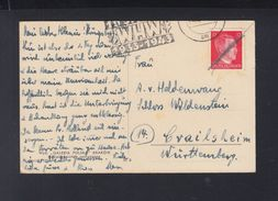 Dt. ReichPK 1943 WHW Und Zusätlich Handschriftlich Entwertet Maximilian Von Haldenwang An Ehefrau - Deutschland