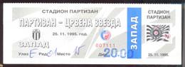 Football PARTIZAN BELGRADE Vs RED STAR BELGRADE    Ticket 25.11.1995. - Match Tickets