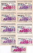 Romania, 1993, Bucharest Tramway Trolley Bus - Lot Of 9 Transport Passes, RATB - Transportation Tickets