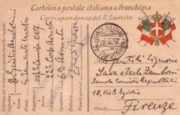 VENDO N.1 CARTOLINA IN FRANCHIGIA CON POSTA MILITARE DEL 22 CORPO D' ARMATA,FORMATO PICCOLO - Guerra 1914-18