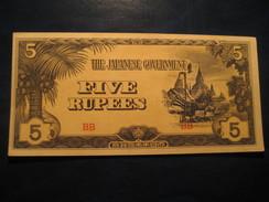 5 Rupees JAPAN 1942 Japanese Occupation Of BURMA Unused UNC Banknote Billet Billete - Japan
