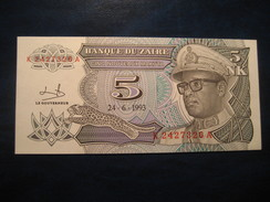 5 Nouveaux Makuta 1993 ZAIRE Unused UNC Banknote Billet Billete Congo Belgium - Zaire