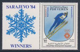 PDR Yemen / South Yemen 1984 Mi 378 ** Matti Nykänen, Ski Jumper, Winner Sarajevo '84 / Finnisch Skispringer - Winter 1984: Sarajevo