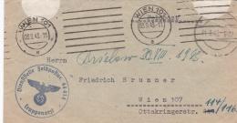 Feldpost WW2: From A Truppenartz In Regiment 4 Brandenburg FP 44414 P/m Wien 101 3.9.1943 - Cover Only. Flap Missing. In - 2. Weltkrieg