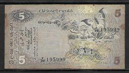 CEYLON / SRI LANKA 5 RUPEES 1979 BANKNOTE - Sri Lanka