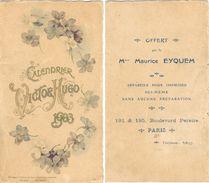 Petit Carton Calendrier VICTOR HUGO 1903  Format 96 Mm X 170 Mm - Calendriers