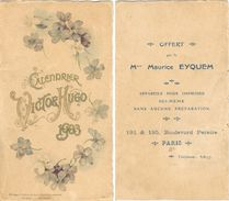 Petit Carton Calendrier VICTOR HUGO 1903  Format 96 Mm X 170 Mm - Calendari