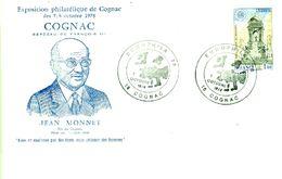 Enveloppe Philatélique De Cognac  Jean MONNET  Père De  L'Europe Unie  1976 - Marcophilie (Lettres)