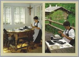 CH.- Schweiz, Freilichtmuseum Ballenberg Ob Brienz. Filetknüpfen. Nr. 213. Foto Fehlmann + Hunziker. - Ambachten