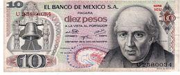 Mexico P.63  10 Pesos 1974 Vf - Messico