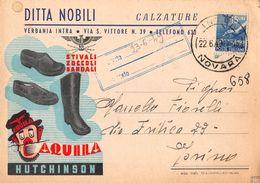 """07151 """"DITTA NOBILI - CALZATURE - VERBANIA INTRA - AQUILA HUTCHINSON - 1949"""" PUBBL. ORIG. - Pubblicitari"""