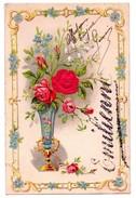 F05 - Carte Gaufrée Avec Un Prénom Et Une Rose En Tissus - - Other