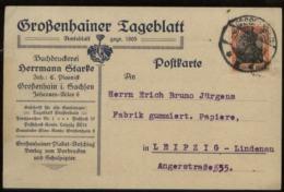 S1815 DR Germania Firmen Postkarte, Gebraucht Großenhain - Leipzig 1920 , Bedarfserhaltung. - Lettres & Documents