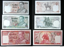 Thailand Banknote 10-20-100 Baht Series 12 Completed Set UNC - Thailand