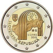 "SLOVAKIA  2 € 2.018  2018  ""25º Anniversary Of The Republic Of Slovakia""  Bimetalic  SC/UNC  T-DL-12.168 - Slovaquie"