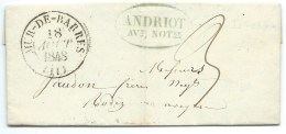 MARQUE POSTALE / MUR DE BARRES AVEYRON POUR RODEZ 1848 - Marcophilie (Lettres)