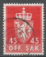 Norway 1958. Scott #O73 (U) Norway Coat Of Arms - Service