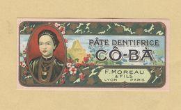 Etiquette Parfum Pâte Dentifrice Cô-Bà F. Moreau & Fils LYON-PARIS Asie Asiatique Format 3,4 Cm X 7,2 Cm - Etiquettes