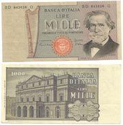 Italia Repubblica Lire 1000 Verdi Circolata - [ 2] 1946-… : Républic