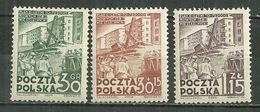 POLAND MNH ** 627-627A-628 Commémoration Du Plan Sexennal De L'habitat Construction Maison - 1944-.... République