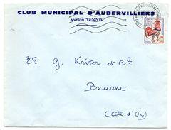 SEINE - Dépt N° 75 = AUBERVILLIERS QUATRE CHEMINS 1963 =  FLAMME SECAP Muette '5 Lignes Ondulées' + CLUB TENNIS - Marcophilie (Lettres)