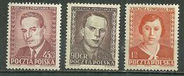 POLAND MNH ** 631-633 ANNIVERSAIRE DU PARTI OUVRIER. NOWOTKO. FINDER. FORMALSKA - 1944-.... République