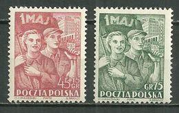 POLAND MNH ** 638-639 EMIS A L'OCCASION DU PREMIER MAI - 1944-.... République