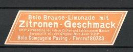 """Präge-Reklamemarke """"Bolo"""" Brause-Limonade Mit Zitronen-Geschmack Der Bolo-Compagnie Pasing - Cinderellas"""