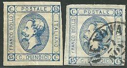 1863 - REGNO - 15 CENT.- 13 + 13d - MNLH + USATO - VARIETA' - SIGNED - SPL - EURO 50,00+++ - - 1861-78 Vittorio Emanuele II