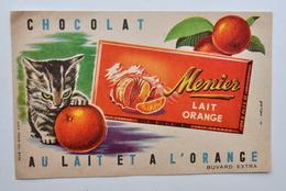 Ancien BUVARD Chocolat MENIER - Dessin Helbé / Chat - Cocoa & Chocolat