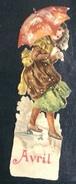 Superbe Chromo Découpis Enfant Jeune Fille Parapluie Giboulée Neige Mois Avril 12 Cm Gaufré - Enfants
