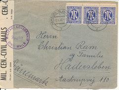 Germany American/British Zone Censored Cover Sent To Denmark Hamburg 2-6-1946  AM Post Stamps - Bizone