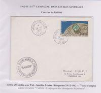 TAAF - Expedition Polaire - Kerguelen - Pa6 - Satellite  Telstar - Galliéni - Cachet - Pj D'emploi - Covers & Documents
