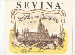 Publicité Carton Semi Rigide, SEVINA, Liqueur Des CHARENTES Au Cognac, Aulnay De Saintonge , 27 X 21 , Frais Fr : 3.25 E - Plaques En Carton