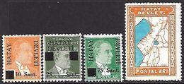 Hatay  1939  Sc#1,2,4,12  4 Diff  MH*  2016 Scott Value $8 - 1934-39 Sandjak Alexandrette & Hatay