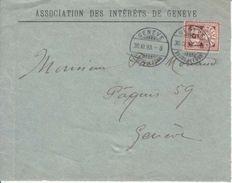"""60A SUR DEVANT  LETTRE - LOGO PRIVE """"ASSOCIATION DES INTERETS DE GENEVE """" - 1893 - - 1882-1906 Armarios, Helvetia De Pie & UPU"""