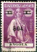 ANGOLA, COLONIA PORTOGHESE, PORTUGUESE COLONY, CERES, 1921, USATI, 04 C. On 15 C.      Michel 198A,  YT 197  Scott 229 - Angola
