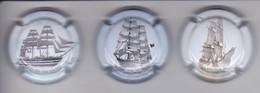 SERIE DE 3 PLACAS DE CAVA JOSEP CARRERAS DE BARCOS (CAPSULE) BARCO-SHIP - Sparkling Wine