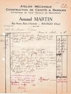 1926 - BOURGES (18) - Construction De CANOTS & BARQUES - Menuiserie - Armand MARTIN - Documents Historiques