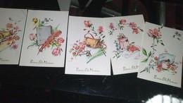 """Lot De 5 Cartes """"BONNE FETE MAMAN """" (5 Dessins Différents) Signées JL STONE - Día De La Madre"""