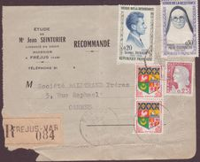 PLI TIMBRE RECOMMANDEE 1961 FREJUS  A CANNES PRINCIPAL VOIR PHOTOS - 1961-....