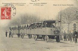 - Gironde -ref-C246- Bordeaux -visite Aux Ateliers Purrey 27 Fev.1907 - Caserne Xaintrailles - Train Renard - Militaria - Bordeaux