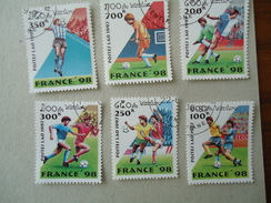 LAOS  USED  SET  STAMPS SPORTS  FOOTBALL FRANCE  98 - Laos