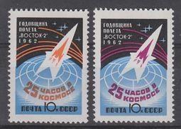 PAIRE NEUVE D'U.R.S.S. - ANNIVERSAIRE DU VOL SPATIAL DE TITOV SUR VOSTOK II N° Y&T 2545/2546 - Space