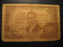 100 Pesetas 1953 SPAIN Circulated Damaged Banknote Billet Billete - [ 3] 1936-1975 : Regency Of Franco